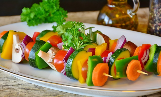 A picture of vegetable skewers