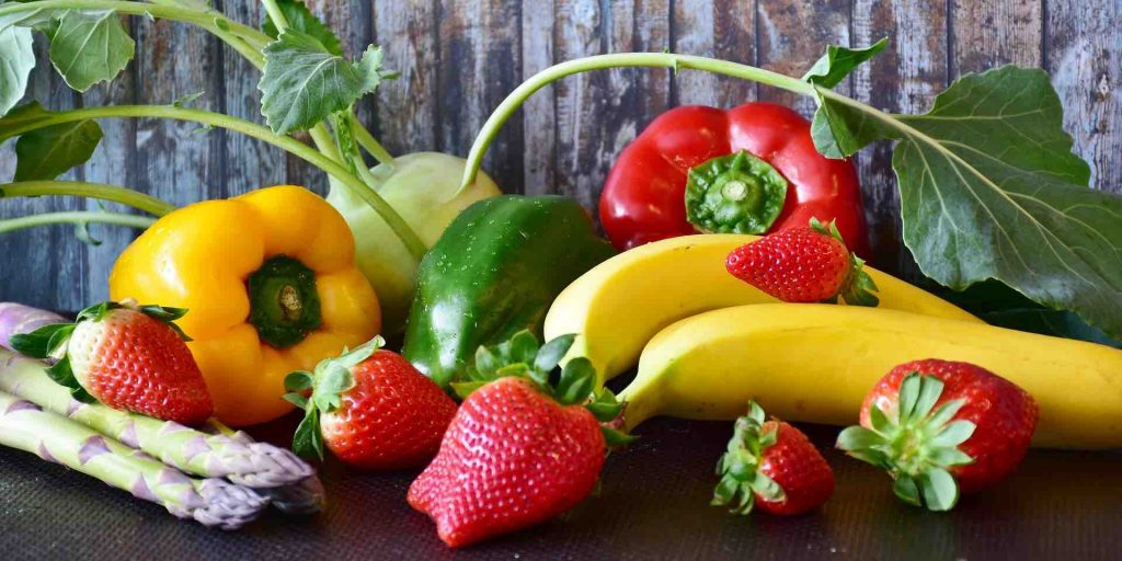 A picture of fruit and vegetables