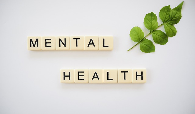 A picture of scrabble letters spelling the words mental health