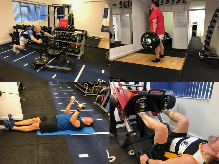 Am I too old to build muscle? No! Older clients working out at Life Force Fitness, Northampton Personal Trainers specialising in Strength and Conditioning