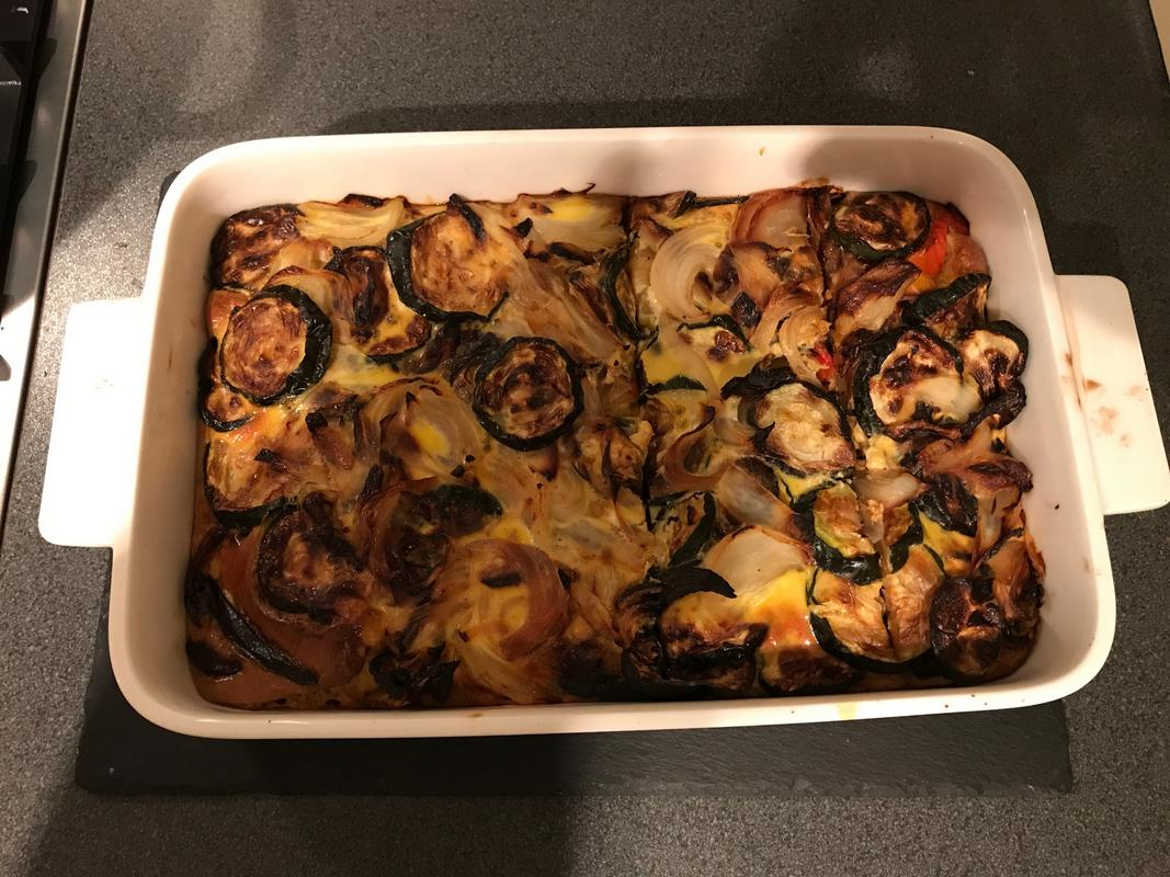 COurgette, onion and pepper Frittata