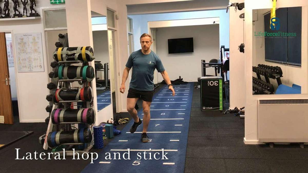 Dynamic balance drills such as hop and stick will help you to become more resilient to trips and improve your agility in sport