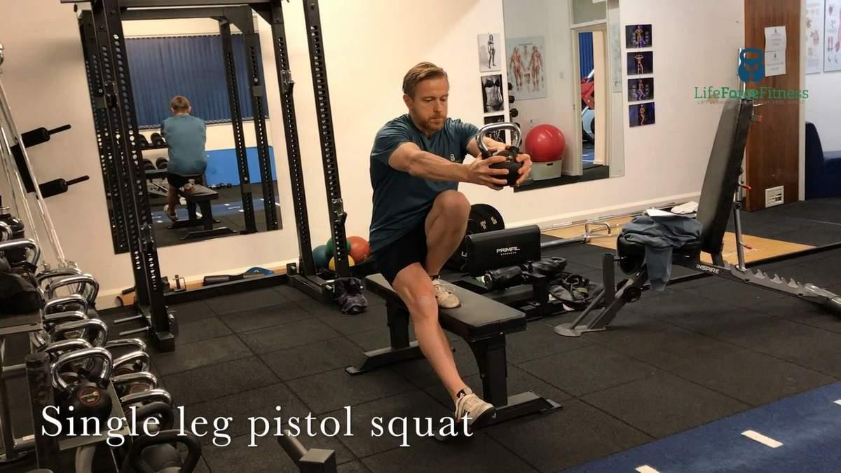 Single leg pistol squat, part of the balanced strength drills.