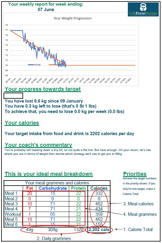 Example weekly report provided by Life Force Fitness private programmes