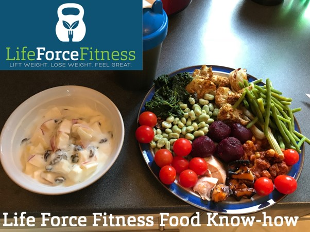 Cover of Life Force Fitness Nutrition Coaching Presentation showing that you can have big portions if you eat the right stuff